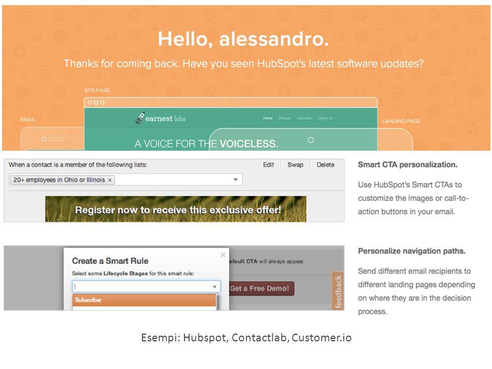 Esempi: Hubspot, Contactlab, Customer.io