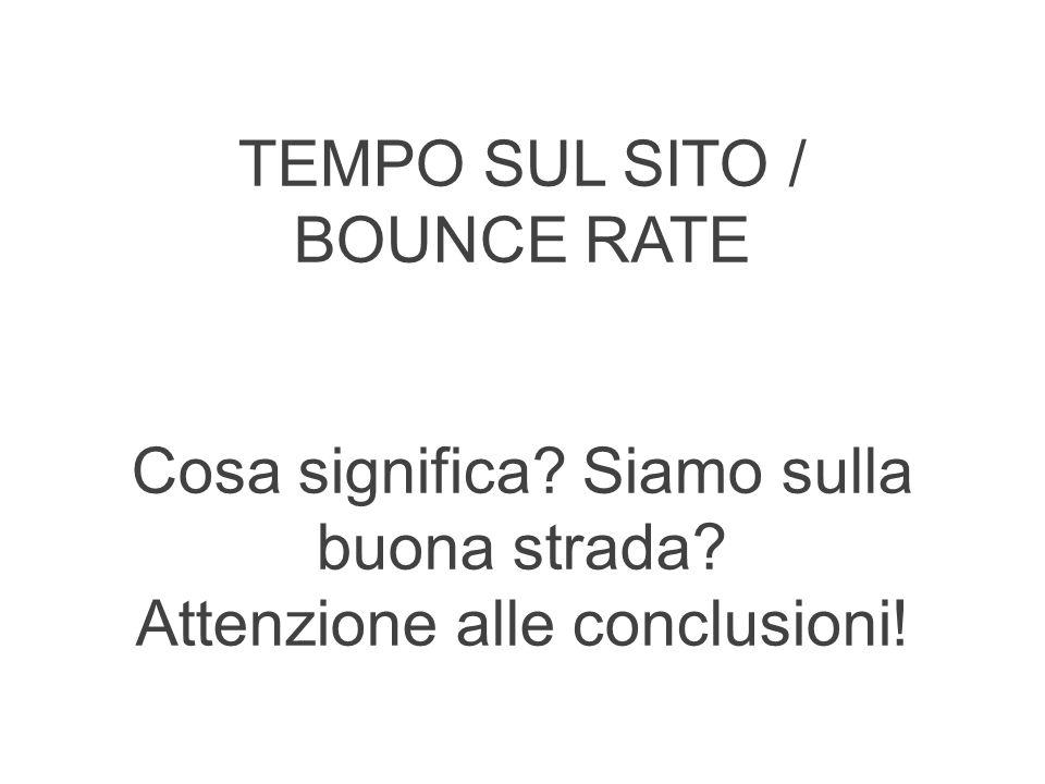 TEMPO SUL SITO / BOUNCE RATE Cosa significa Siamo sulla buona strada Attenzione alle conclusioni!