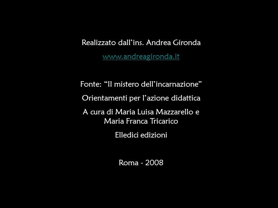 Realizzato dallins. Andrea Gironda www.andreagironda.it Fonte: Il mistero dellincarnazione Orientamenti per lazione didattica A cura di Maria Luisa Ma