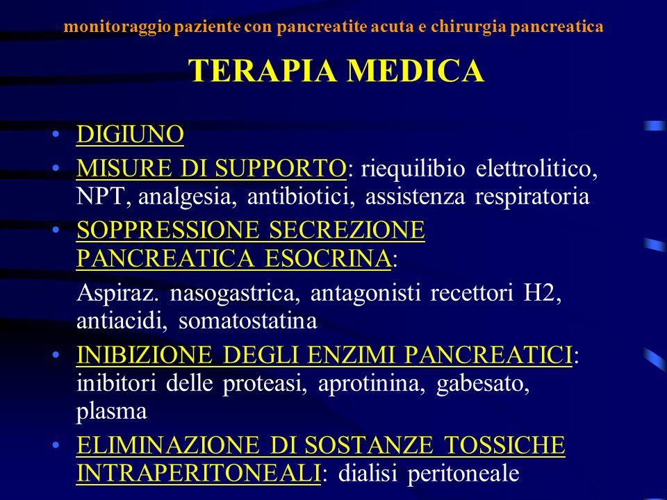 TERAPIA MEDICA DIGIUNO MISURE DI SUPPORTO: riequilibio elettrolitico, NPT, analgesia, antibiotici, assistenza respiratoria SOPPRESSIONE SECREZIONE PAN