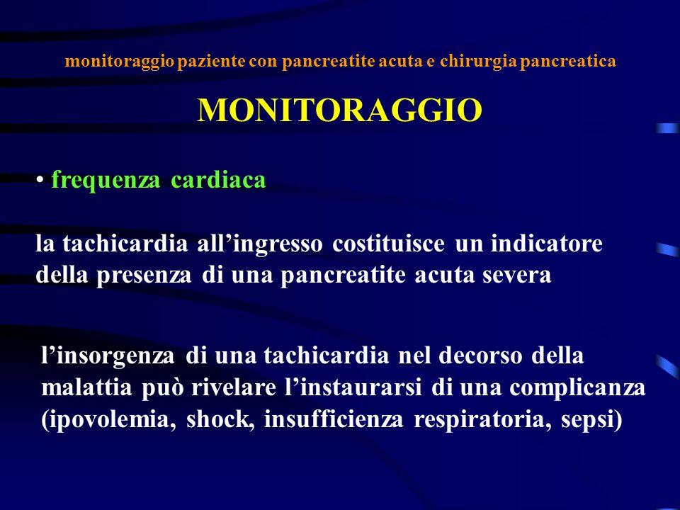 monitoraggio paziente con pancreatite acuta e chirurgia pancreatica MONITORAGGIO frequenza cardiaca la tachicardia allingresso costituisce un indicato