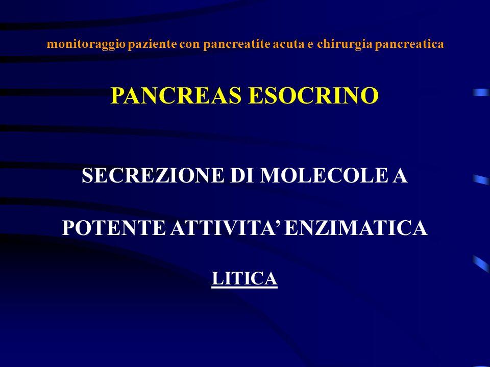 monitoraggio paziente con pancreatite acuta e chirurgia pancreatica PANCREAS ESOCRINO SECREZIONE DI MOLECOLE A POTENTE ATTIVITA ENZIMATICA LITICA