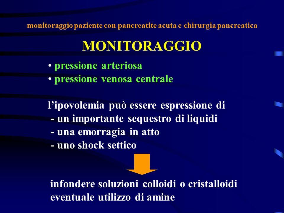 monitoraggio paziente con pancreatite acuta e chirurgia pancreatica MONITORAGGIO pressione arteriosa pressione venosa centrale lipovolemia può essere