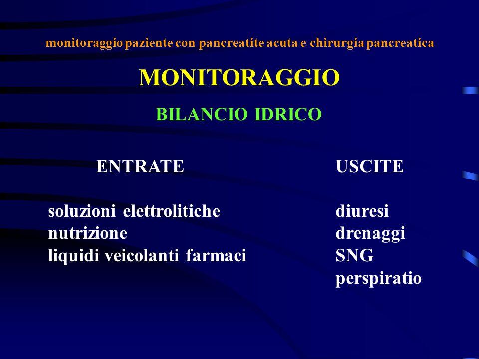 monitoraggio paziente con pancreatite acuta e chirurgia pancreatica MONITORAGGIO BILANCIO IDRICO ENTRATEUSCITE soluzioni elettrolitichediuresi nutrizi