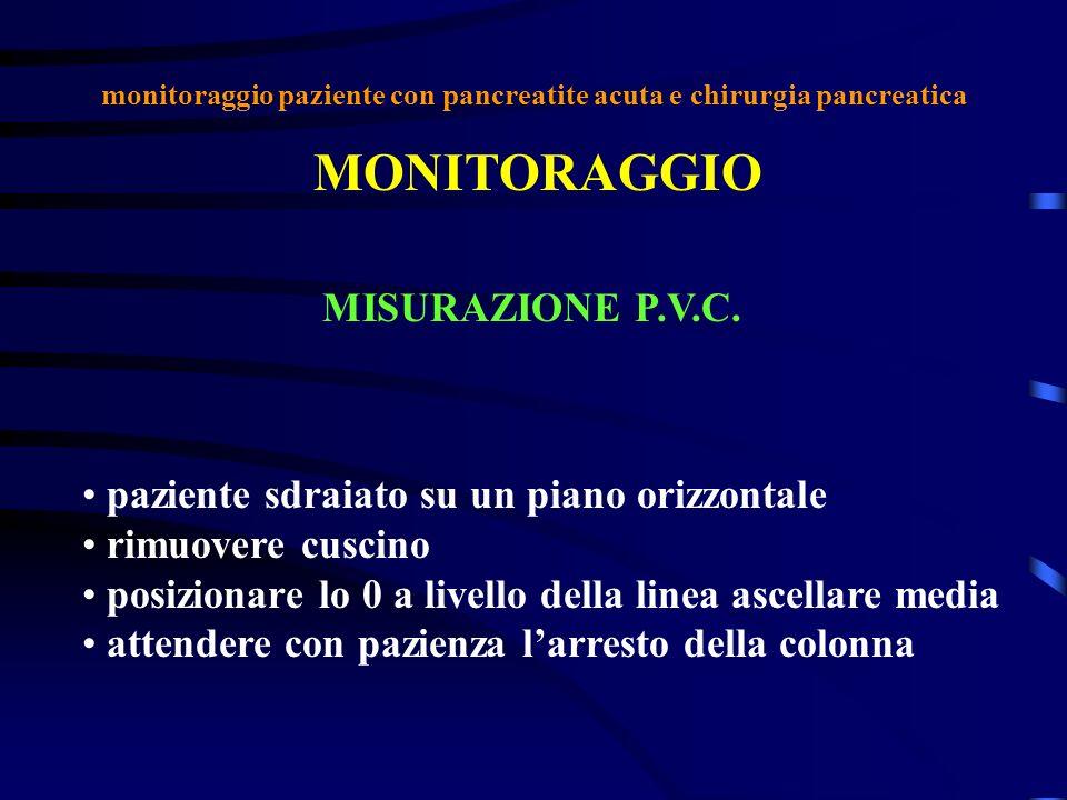 monitoraggio paziente con pancreatite acuta e chirurgia pancreatica MONITORAGGIO MISURAZIONE P.V.C. paziente sdraiato su un piano orizzontale rimuover