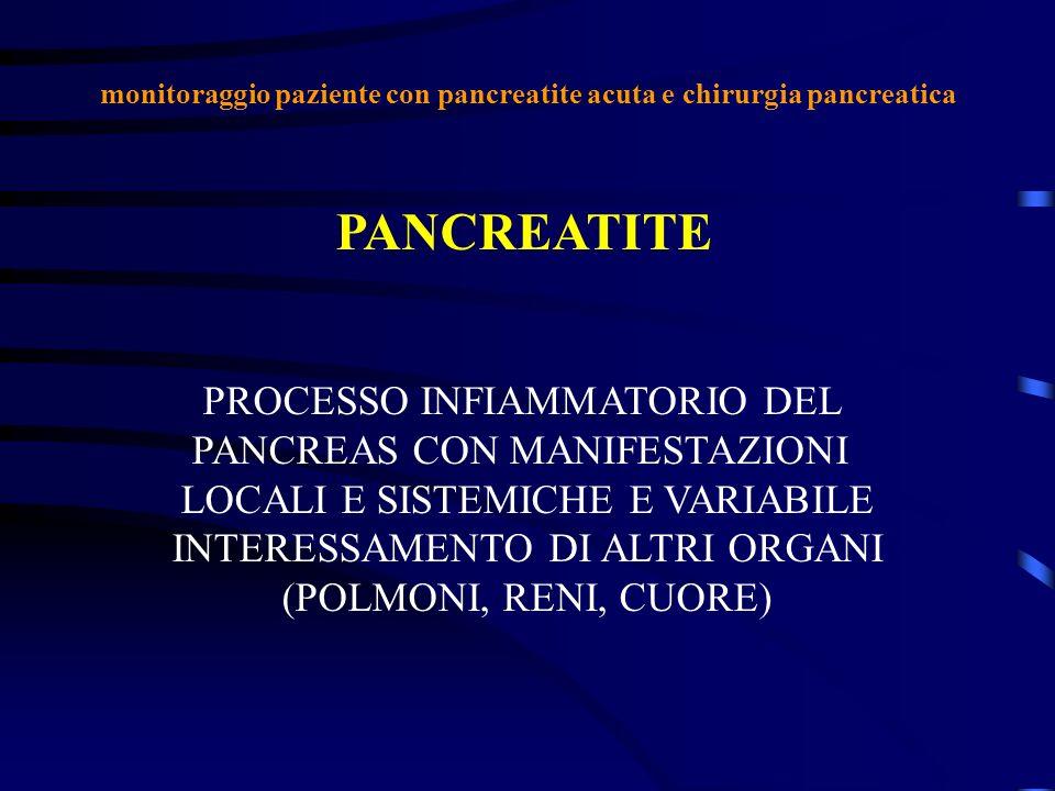 monitoraggio paziente con pancreatite acuta e chirurgia pancreatica PANCREATITE PROCESSO INFIAMMATORIO DEL PANCREAS CON MANIFESTAZIONI LOCALI E SISTEM