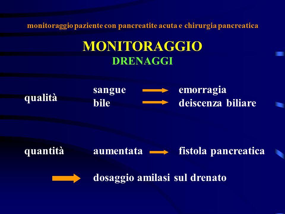 monitoraggio paziente con pancreatite acuta e chirurgia pancreatica MONITORAGGIO DRENAGGI qualità quantità sangueemorragia biledeiscenza biliare aumen