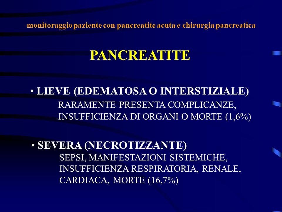 monitoraggio paziente con pancreatite acuta e chirurgia pancreatica PANCREATITE LIEVE (EDEMATOSA O INTERSTIZIALE) RARAMENTE PRESENTA COMPLICANZE, INSU