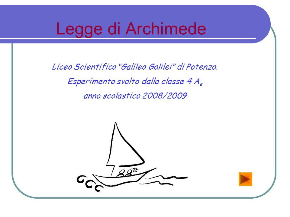 Legge di Archimede Liceo Scientifico Galileo Galilei di Potenza. Esperimento svolto dalla classe 4 A s anno scolastico 2008/2009