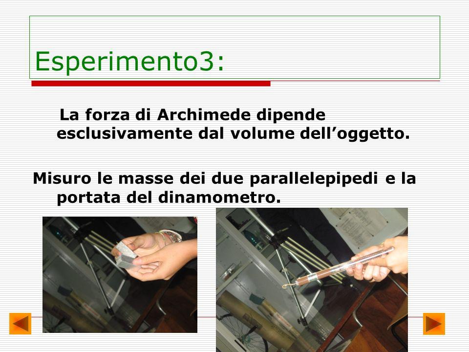 Esperimento3: La forza di Archimede dipende esclusivamente dal volume delloggetto. Misuro le masse dei due parallelepipedi e la portata del dinamometr
