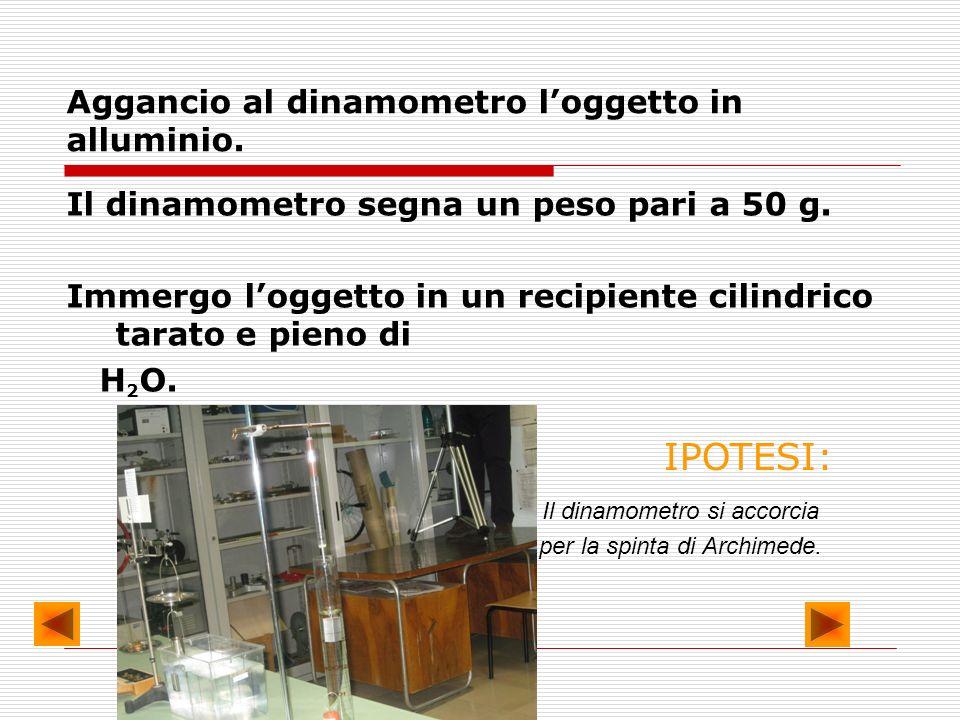 Aggancio al dinamometro loggetto in alluminio. Il dinamometro segna un peso pari a 50 g. Immergo loggetto in un recipiente cilindrico tarato e pieno d
