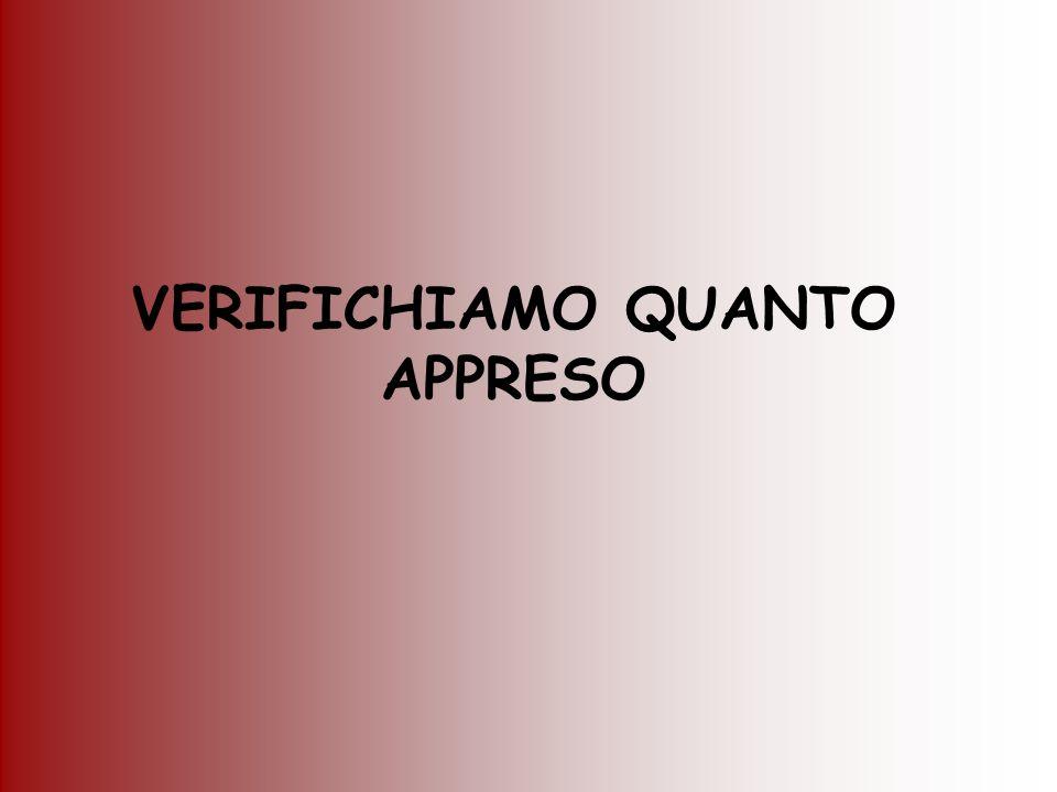 VERIFICHIAMO QUANTO APPRESO