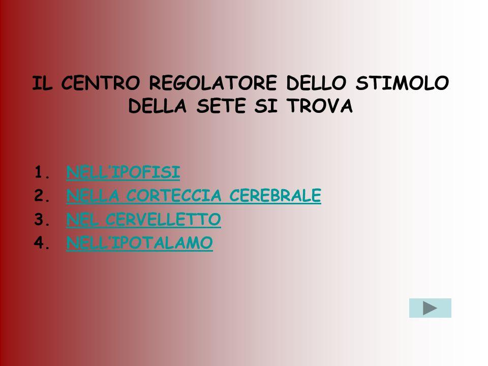 IL CENTRO REGOLATORE DELLO STIMOLO DELLA SETE SI TROVA 1.NELLIPOFISINELLIPOFISI 2.NELLA CORTECCIA CEREBRALENELLA CORTECCIA CEREBRALE 3.NEL CERVELLETTO
