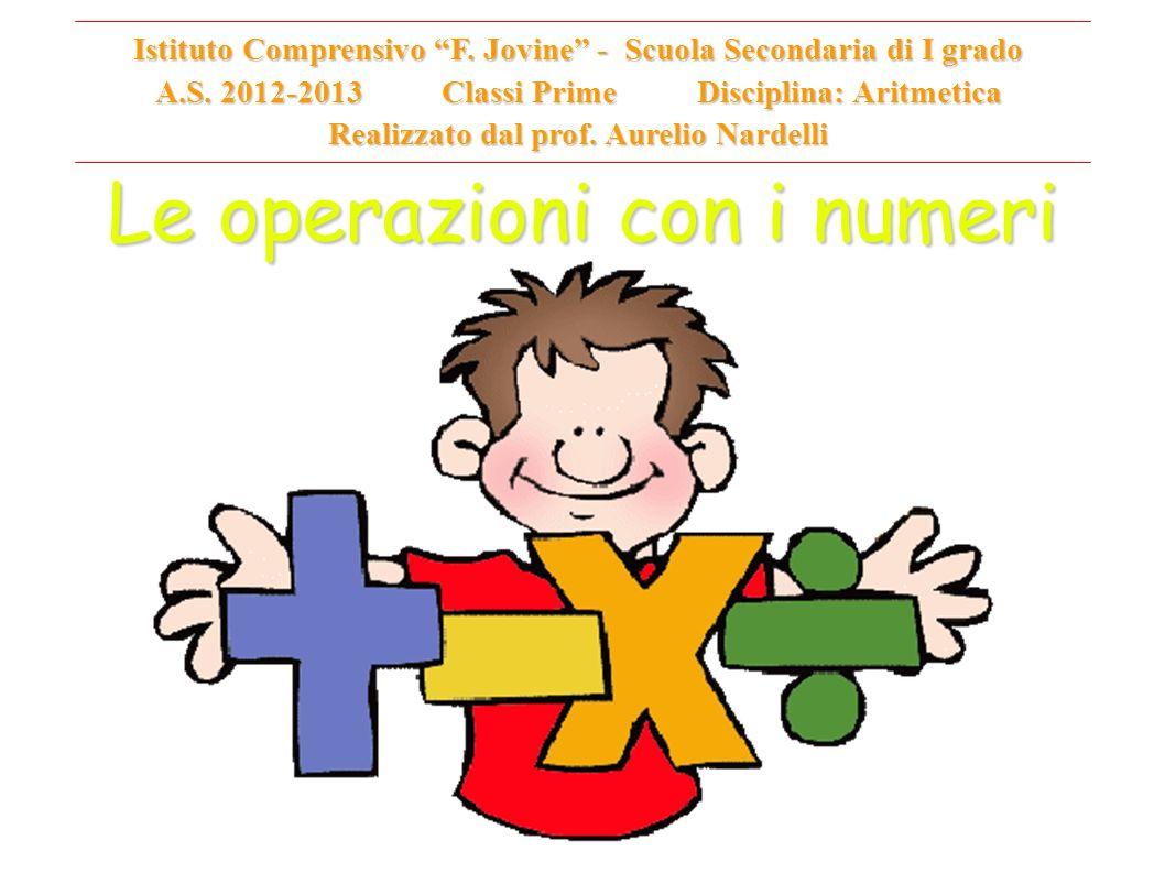 Le operazioni con i numeri Istituto Comprensivo F. Jovine - Scuola Secondaria di I grado A.S. 2012-2013 Classi Prime Disciplina: Aritmetica Realizzato
