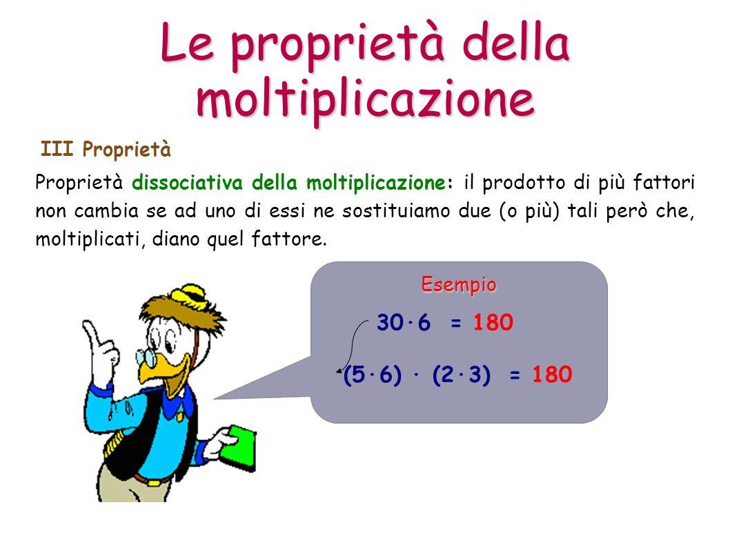 Proprietà dissociativa della moltiplicazione: il prodotto di più fattori non cambia se ad uno di essi ne sostituiamo due (o più) tali però che, moltip