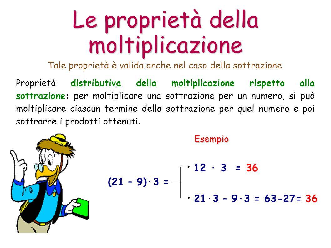 Proprietà distributiva della moltiplicazione rispetto alla sottrazione: per moltiplicare una sottrazione per un numero, si può moltiplicare ciascun te
