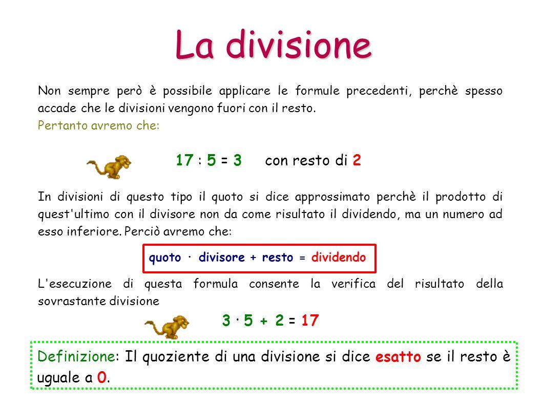 La divisione Non sempre però è possibile applicare le formule precedenti, perchè spesso accade che le divisioni vengono fuori con il resto. Definizion
