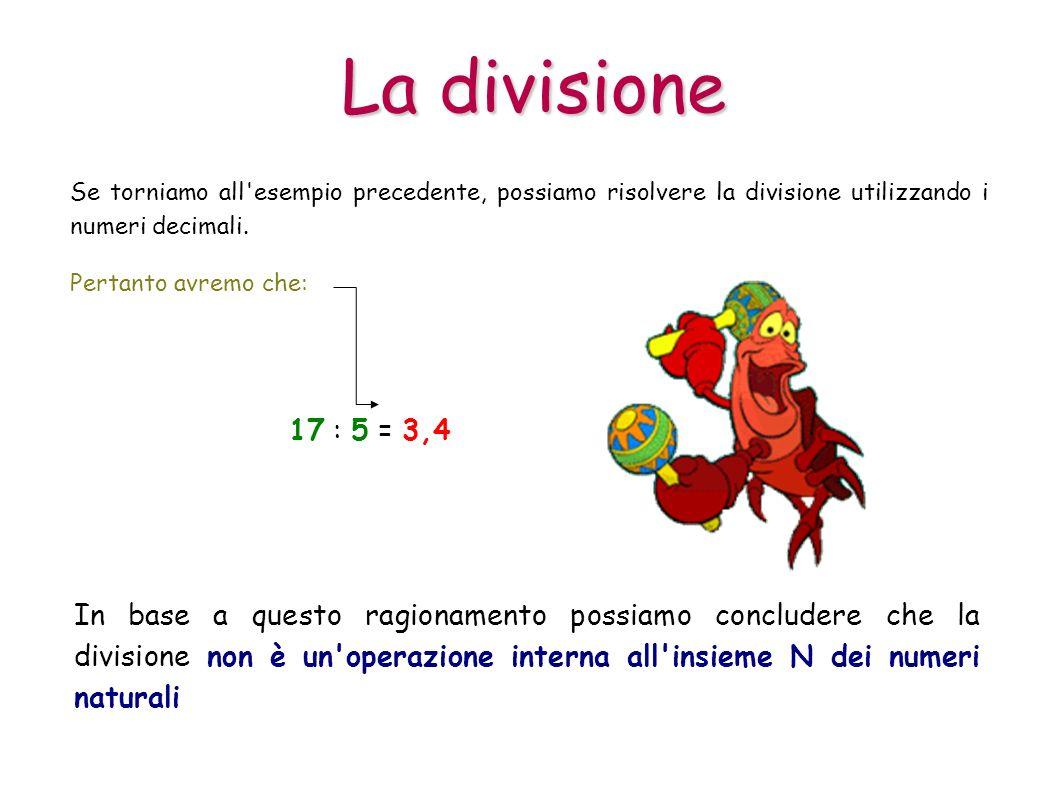 La divisione Se torniamo all'esempio precedente, possiamo risolvere la divisione utilizzando i numeri decimali. 17 : 5 = 3,4 In base a questo ragionam
