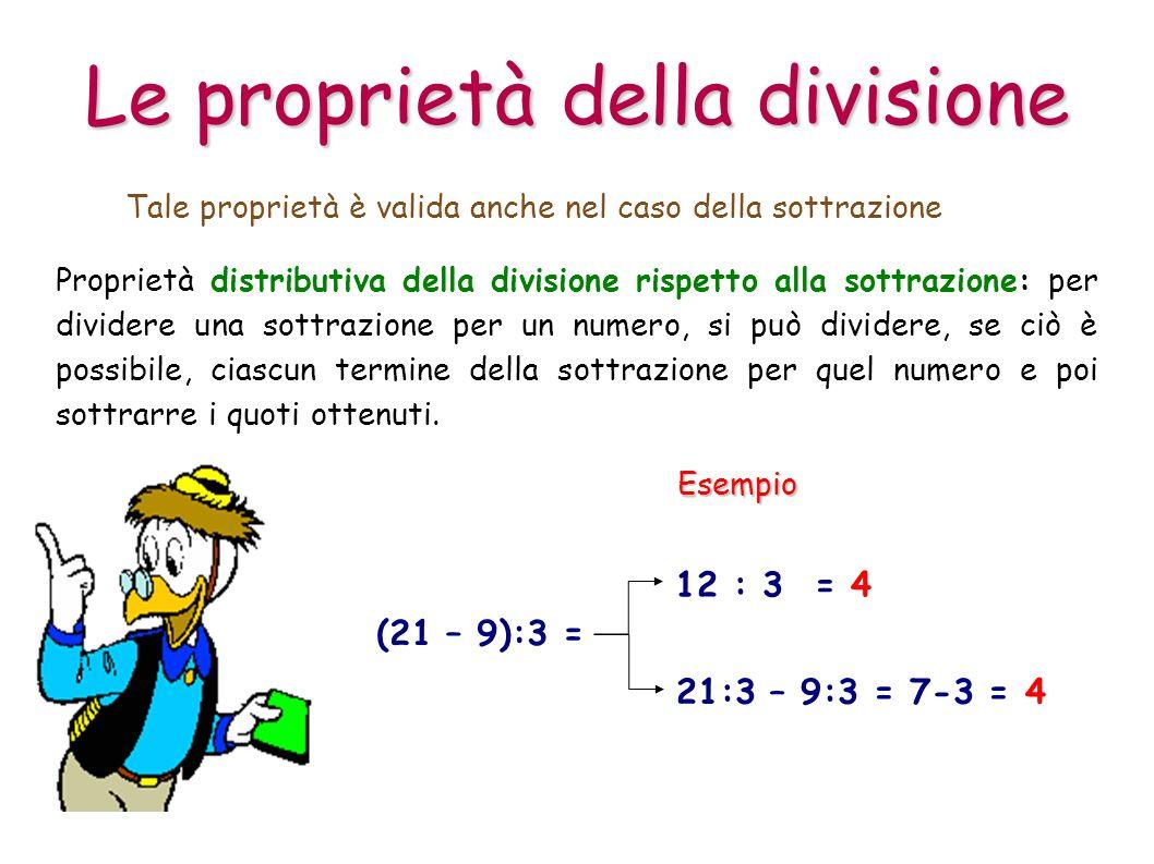 Proprietà distributiva della divisione rispetto alla sottrazione: per dividere una sottrazione per un numero, si può dividere, se ciò è possibile, cia