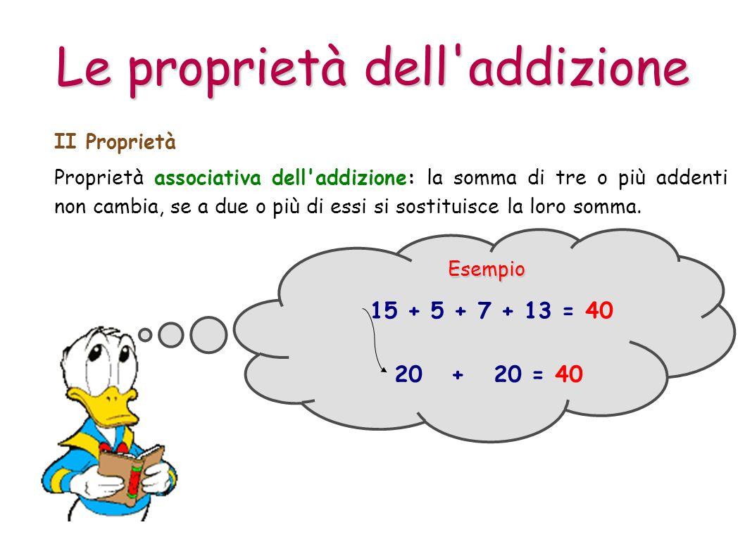 Proprietà associativa dell'addizione: la somma di tre o più addenti non cambia, se a due o più di essi si sostituisce la loro somma. II Proprietà Esem