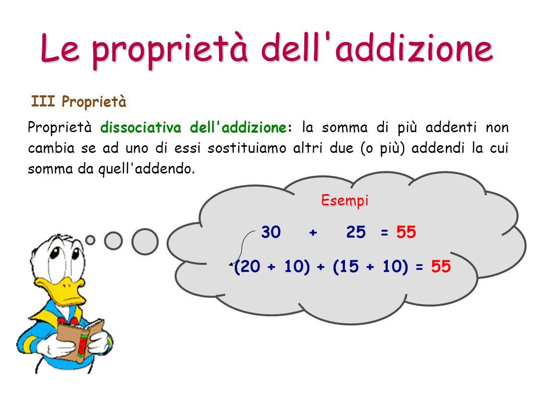 Proprietà dissociativa dell'addizione: la somma di più addenti non cambia se ad uno di essi sostituiamo altri due (o più) addendi la cui somma da quel