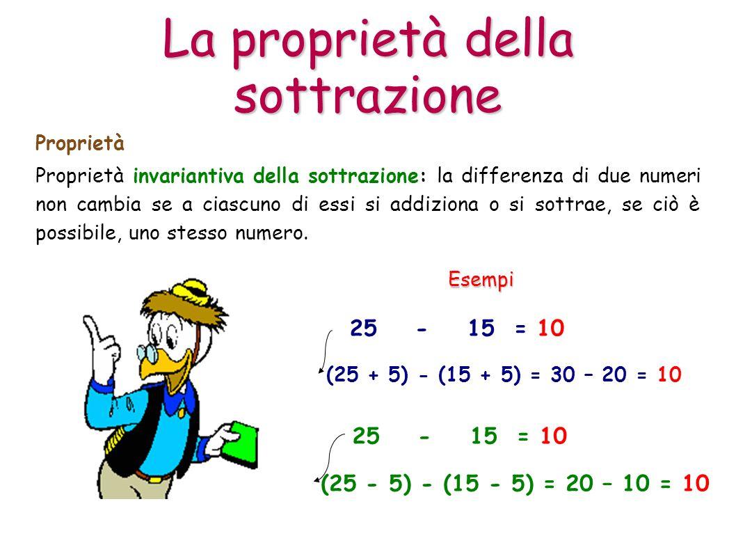Proprietà invariantiva della sottrazione: la differenza di due numeri non cambia se a ciascuno di essi si addiziona o si sottrae, se ciò è possibile,