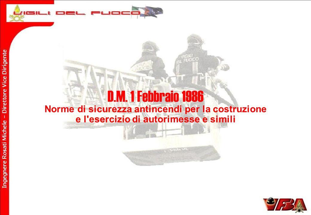 D.M. 1 Febbraio 1986 Norme di sicurezza antincendi per la costruzione e l'esercizio di autorimesse e simili