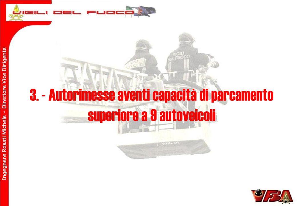 3. - Autorimesse aventi capacità di parcamento superiore a 9 autoveicoli