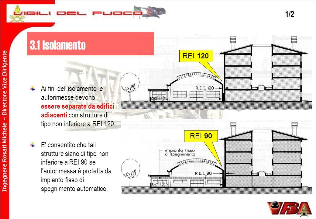REI 120 REI 90 Ai fini dell isolamento le autorimesse devono essere separate da edifici adiacenti con strutture di tipo non inferiore a REI 120 E consentito che tali strutture siano di tipo non inferiore a REI 90 se l autorimessa è protetta da impianto fisso di spegnimento automatico.