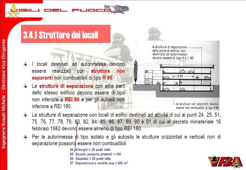 I locali destinati ad autorimessa devono essere realizzati con strutture non separanti non combustibili di tipo R 90.