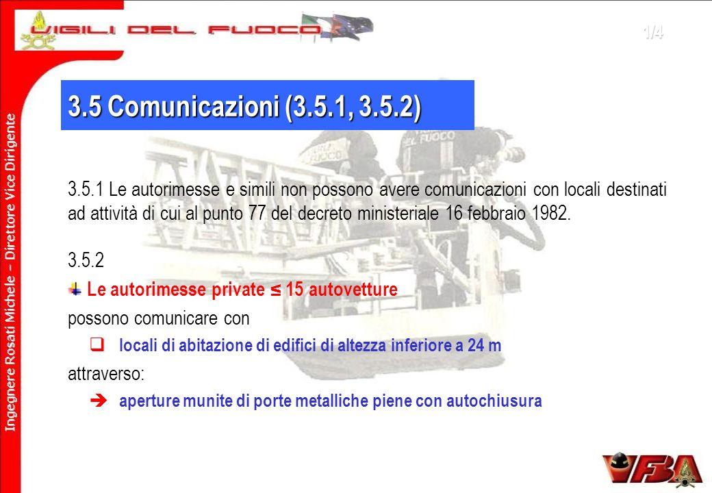 3.5 Comunicazioni (3.5.1, 3.5.2) 3.5.1 Le autorimesse e simili non possono avere comunicazioni con locali destinati ad attività di cui al punto 77 del decreto ministeriale 16 febbraio 1982.