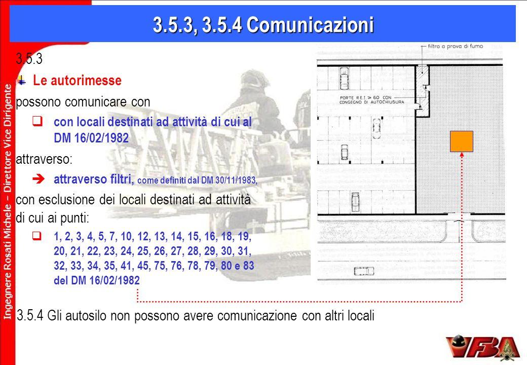 3.5.3, 3.5.4 Comunicazioni 3.5.3 Le autorimesse possono comunicare con con locali destinati ad attività di cui al DM 16/02/1982 attraverso: attraverso filtri, come definiti dal DM 30/11/1983, con esclusione dei locali destinati ad attività di cui ai punti: 1, 2, 3, 4, 5, 7, 10, 12, 13, 14, 15, 16, 18, 19, 20, 21, 22, 23, 24, 25, 26, 27, 28, 29, 30, 31, 32, 33, 34, 35, 41, 45, 75, 76, 78, 79, 80 e 83 del DM 16/02/1982 3.5.4 Gli autosilo non possono avere comunicazione con altri locali