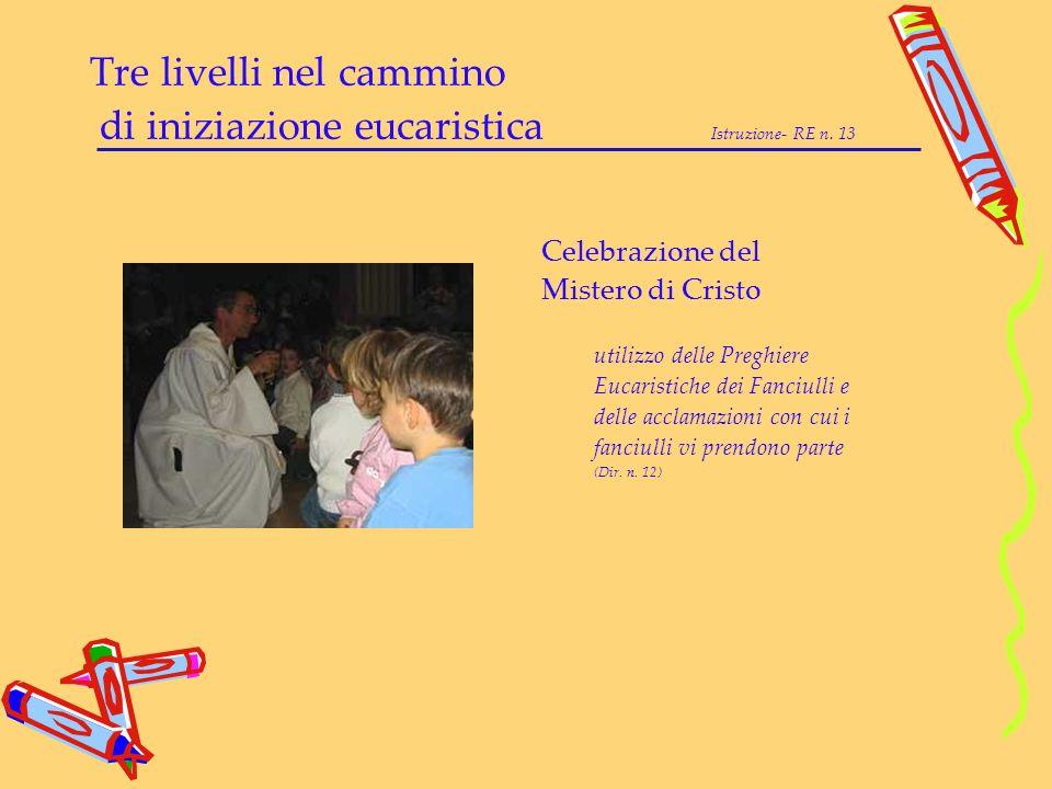 Tre livelli nel cammino di iniziazione eucaristica Istruzione- RE n. 13 Celebrazione del Mistero di Cristo utilizzo delle Preghiere Eucaristiche dei F
