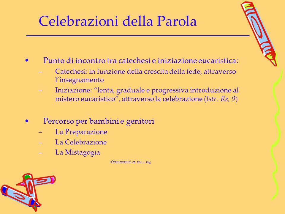 Celebrazioni della Parola Punto di incontro tra catechesi e iniziazione eucaristica: –Catechesi: in funzione della crescita della fede, attraverso lin