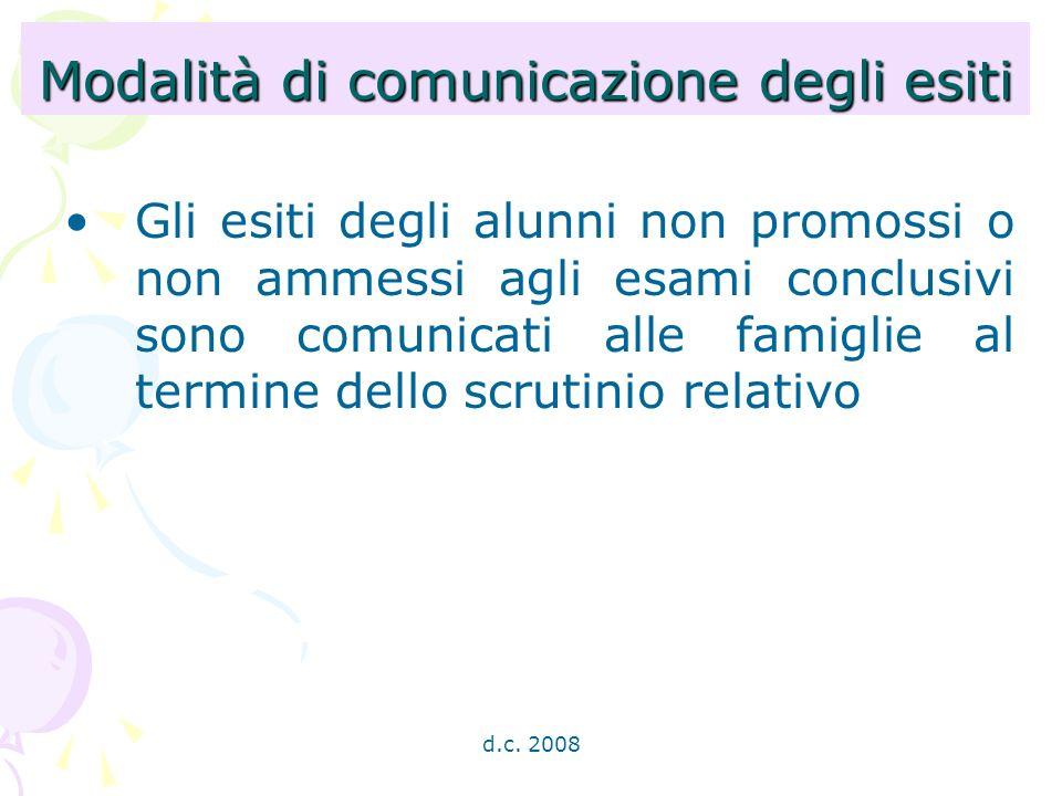 d.c. 2008 Modalità di comunicazione degli esiti Gli esiti degli alunni non promossi o non ammessi agli esami conclusivi sono comunicati alle famiglie