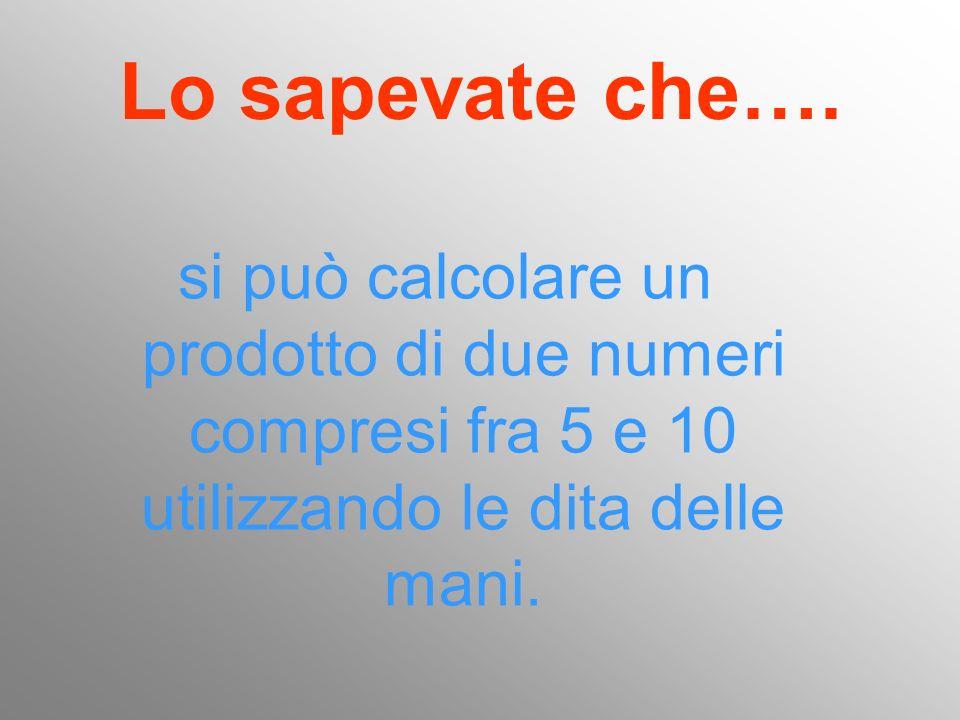 Lo sapevate che…. si può calcolare un prodotto di due numeri compresi fra 5 e 10 utilizzando le dita delle mani.