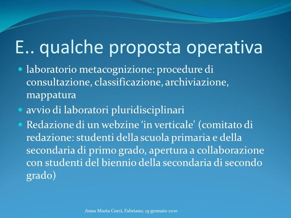 Anna Maria Curci, Fabriano, 19 gennaio 2010 E.. qualche proposta operativa laboratorio metacognizione: procedure di consultazione, classificazione, ar