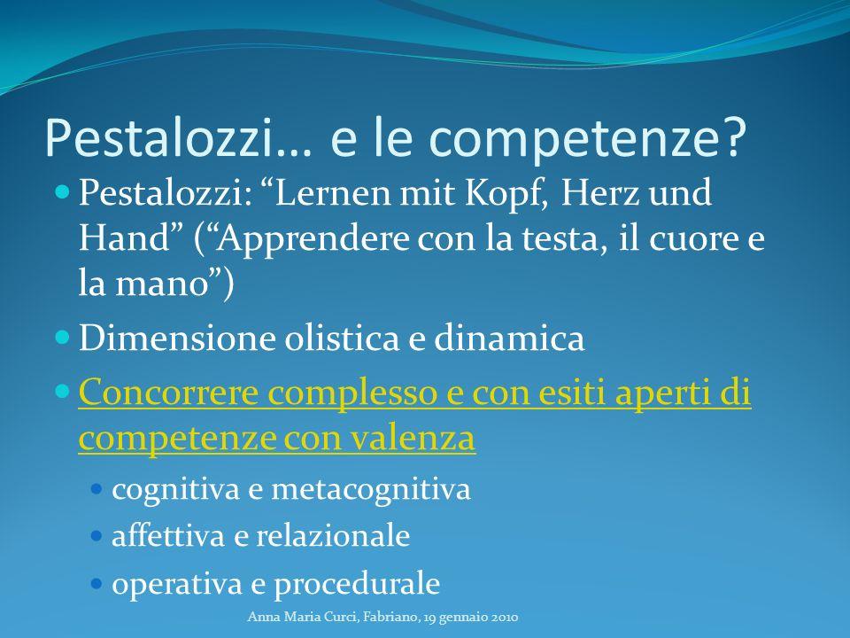 Anna Maria Curci, Fabriano, 19 gennaio 2010 Pestalozzi… e le competenze? Pestalozzi: Lernen mit Kopf, Herz und Hand (Apprendere con la testa, il cuore