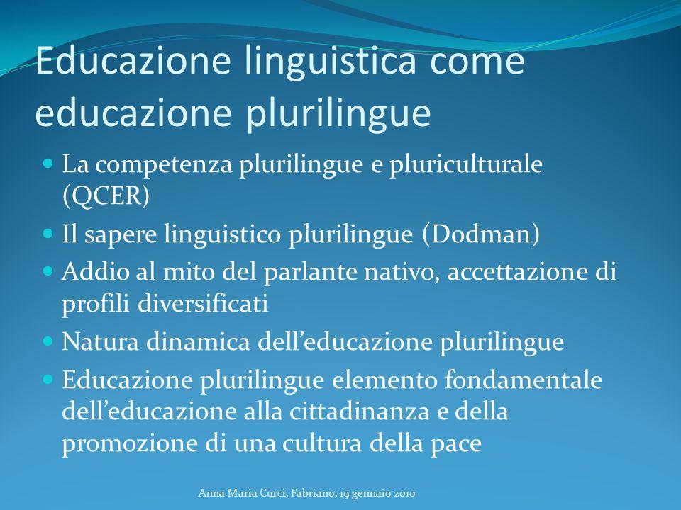 Anna Maria Curci, Fabriano, 19 gennaio 2010 Educazione linguistica come educazione plurilingue La competenza plurilingue e pluriculturale (QCER) Il sa