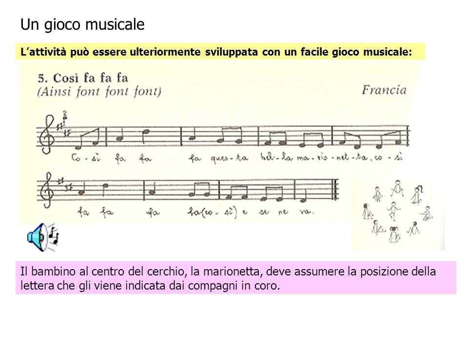 Un gioco musicale Lattività può essere ulteriormente sviluppata con un facile gioco musicale: Il bambino al centro del cerchio, la marionetta, deve assumere la posizione della lettera che gli viene indicata dai compagni in coro.