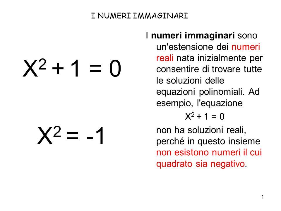 1 I NUMERI IMMAGINARI I numeri immaginari sono un estensione dei numeri reali nata inizialmente per consentire di trovare tutte le soluzioni delle equazioni polinomiali.