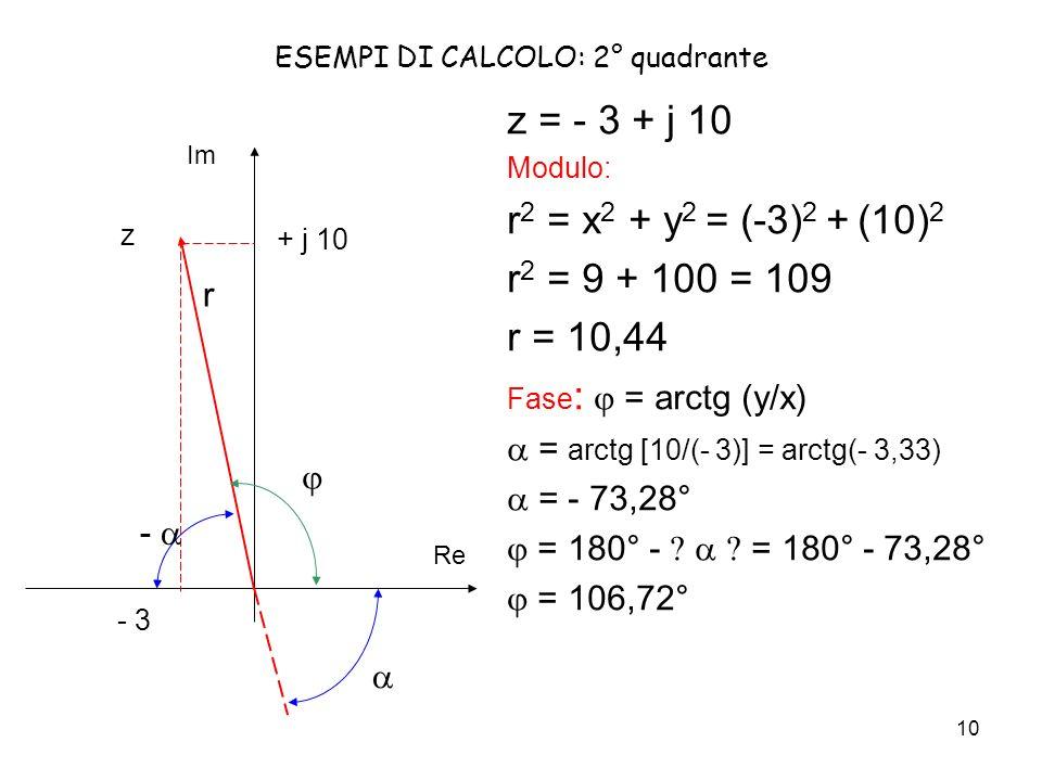 10 ESEMPI DI CALCOLO: 2° quadrante z = - 3 + j 10 Modulo: r 2 = x 2 + y 2 = (-3) 2 + (10) 2 r 2 = 9 + 100 = 109 r = 10,44 Fase : = arctg (y/x) = arctg [10/(- 3)] = arctg(- 3,33) = - 73,28° = 180° - = 180° - 73,28° = 106,72° Re Im + j 10 - 3 z r -