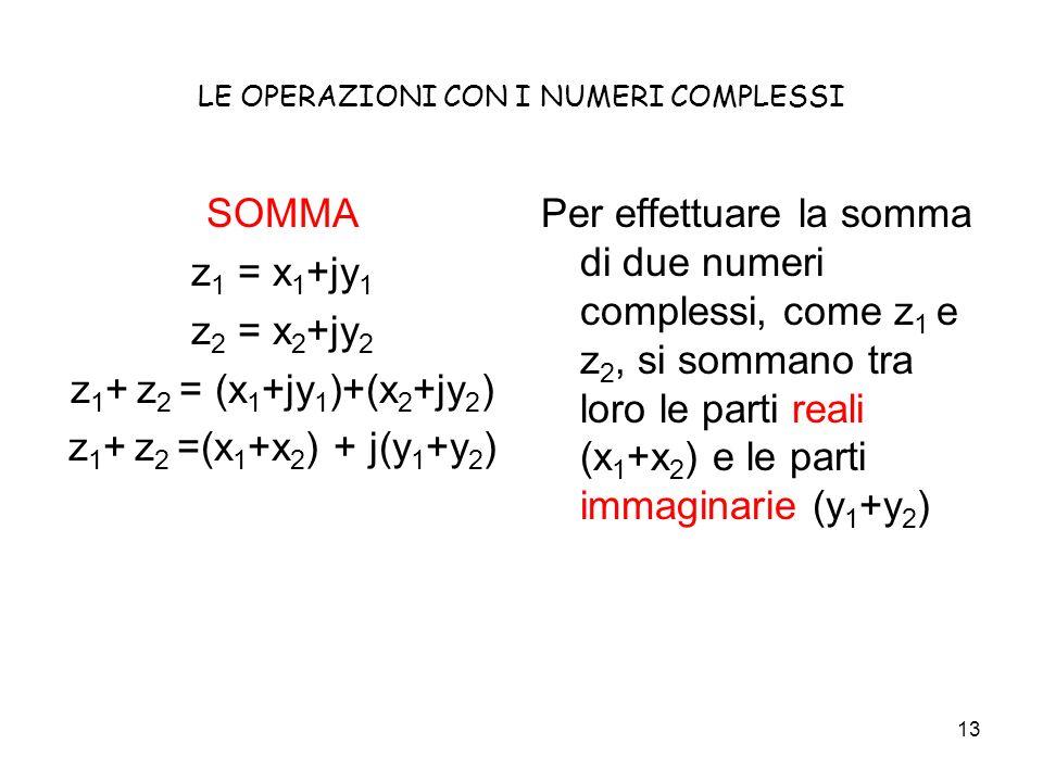13 LE OPERAZIONI CON I NUMERI COMPLESSI SOMMA z 1 = x 1 +jy 1 z 2 = x 2 +jy 2 z 1 + z 2 = (x 1 +jy 1 )+(x 2 +jy 2 ) z 1 + z 2 =(x 1 +x 2 ) + j(y 1 +y 2 ) Per effettuare la somma di due numeri complessi, come z 1 e z 2, si sommano tra loro le parti reali (x 1 +x 2 ) e le parti immaginarie (y 1 +y 2 )