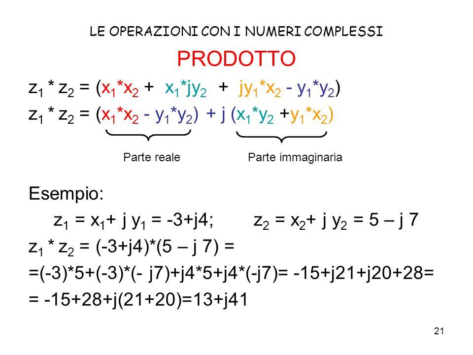 21 LE OPERAZIONI CON I NUMERI COMPLESSI PRODOTTO z 1 * z 2 = (x 1 *x 2 + x 1 *jy 2 + jy 1 *x 2 - y 1 *y 2 ) z 1 * z 2 = (x 1 *x 2 - y 1 *y 2 ) + j (x 1 *y 2 +y 1 *x 2 ) Esempio: z 1 = x 1 + j y 1 = -3+j4; z 2 = x 2 + j y 2 = 5 – j 7 z 1 * z 2 = (-3+j4)*(5 – j 7) = =(-3)*5+(-3)*(- j7)+j4*5+j4*(-j7)= -15+j21+j20+28= = -15+28+j(21+20)=13+j41 Parte reale Parte immaginaria