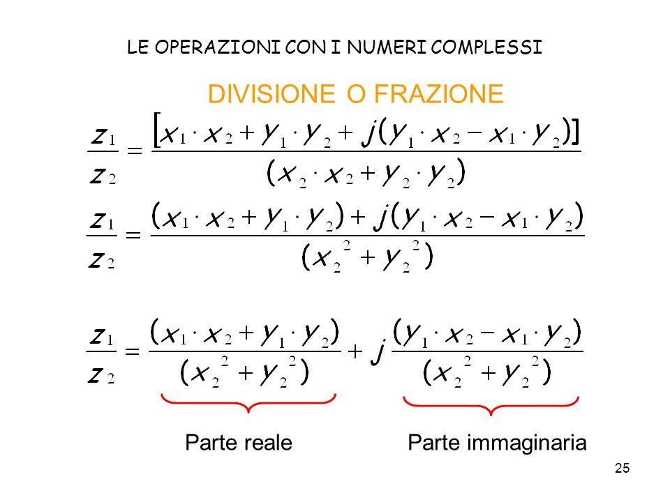 25 LE OPERAZIONI CON I NUMERI COMPLESSI DIVISIONE O FRAZIONE Parte realeParte immaginaria