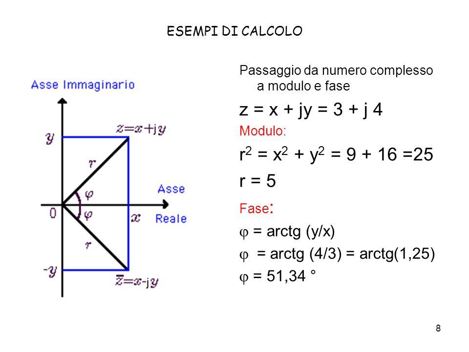 8 ESEMPI DI CALCOLO Passaggio da numero complesso a modulo e fase z = x + jy = 3 + j 4 Modulo: r 2 = x 2 + y 2 = 9 + 16 =25 r = 5 Fase : = arctg (y/x) = arctg (4/3) = arctg(1,25) = 51,34 °