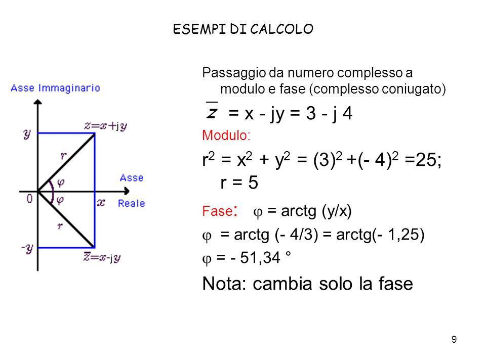 9 ESEMPI DI CALCOLO Passaggio da numero complesso a modulo e fase (complesso coniugato) = x - jy = 3 - j 4 Modulo: r 2 = x 2 + y 2 = (3) 2 +(- 4) 2 =2