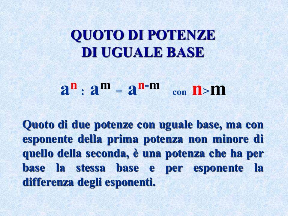 QUOTO DIPOTENZE QUOTO DI POTENZE DI UGUALEBASE DI UGUALE BASE a n : a m = a n-m con n > m Quoto di due potenze con uguale base, ma con esponente della