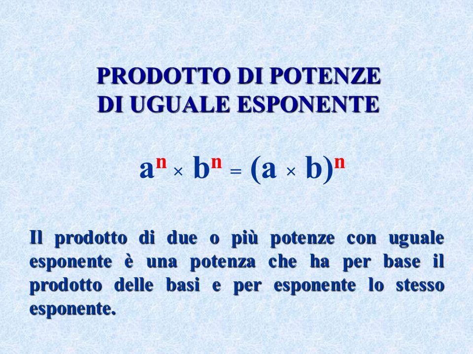 PRODOTTO DI POTENZE DI UGUALE ESPONENTE Il prodotto di due o più potenze con uguale esponente è una potenza che ha per base il prodotto delle basi e p