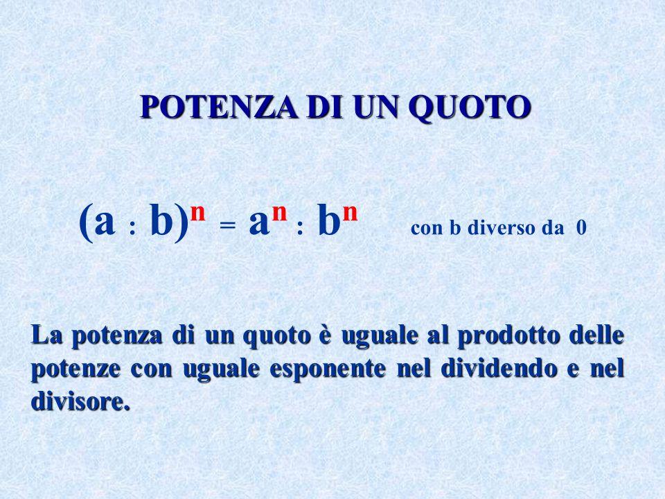 POTENZA DI UN QUOTO La potenza di un quoto è uguale al prodotto delle potenze con uguale esponente nel dividendo e nel divisore. (a : b) n = a n : b n